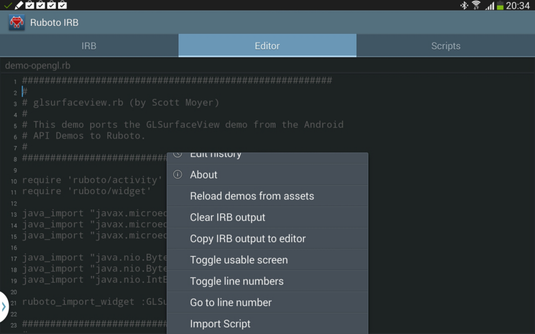 Ruboto code editor