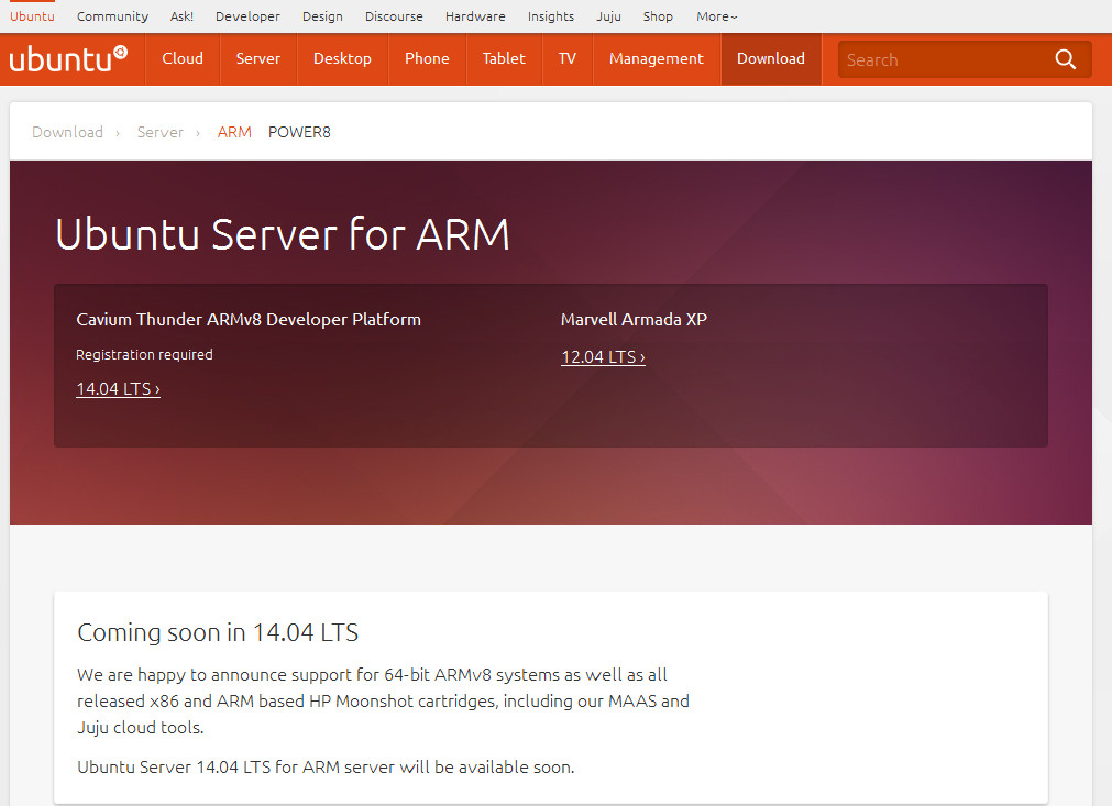 Ubuntu Server 14.04 LTS supports 64-bit ARM