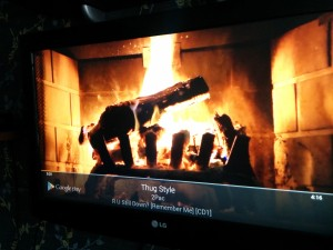 Google Play Music with a fireplace effect