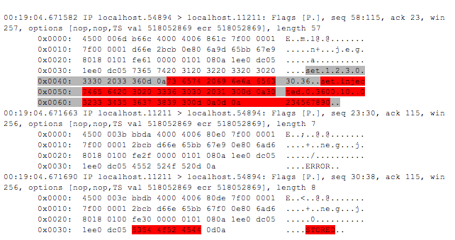 Fig. 2. The network traffic dump in case of parser context violation