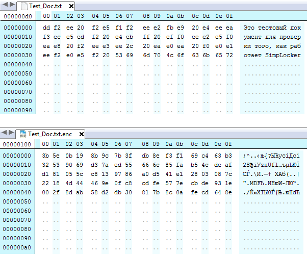 Original (Top) and Encrypted (Bottom) .txt file. The file length is increased by 16 bytes following the alignment of blocks