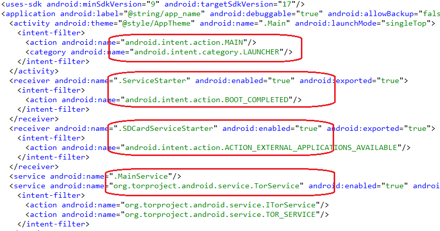 Components of the Trojan in AndroidManifest.xml