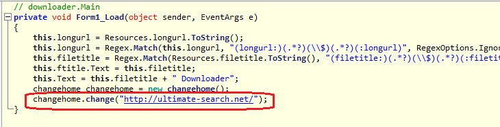 Decompiled chunk of source code from Trojan.StartPage.58232 (the highlighted section indicates setting of 'ultimate-search.net' as a start page)