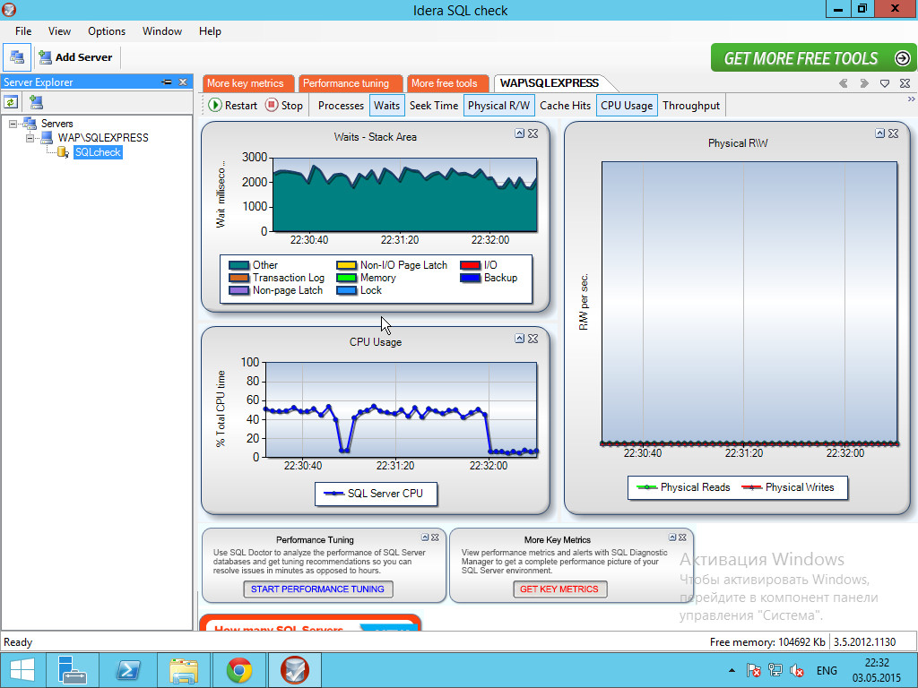 Результат мониторинга в Idera SQL check