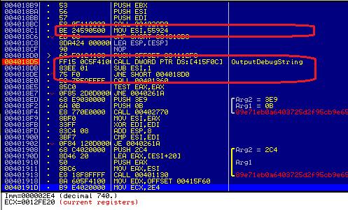 Antidebugging in TorrentLocker based on OutputDebugString