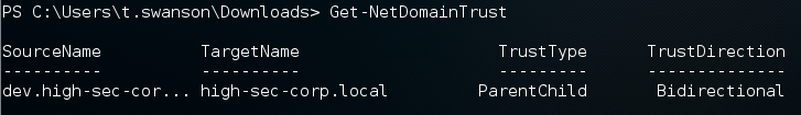 Fig. 3. Get-NetDomainTrust results