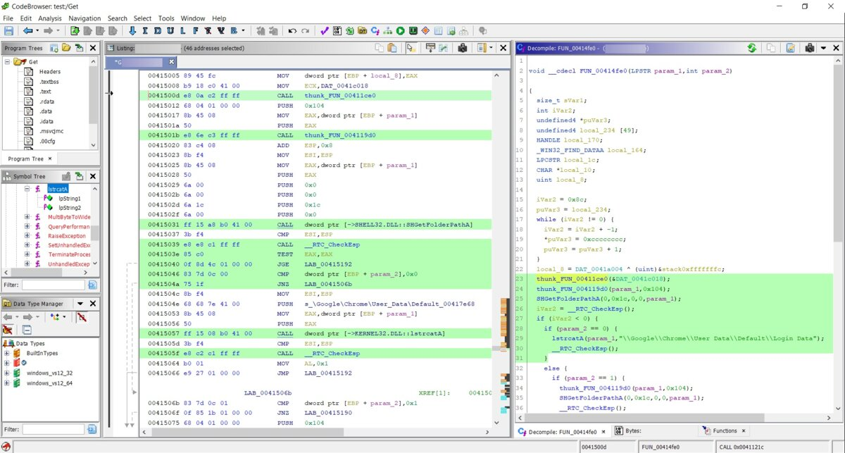 Code selection in Ghidra