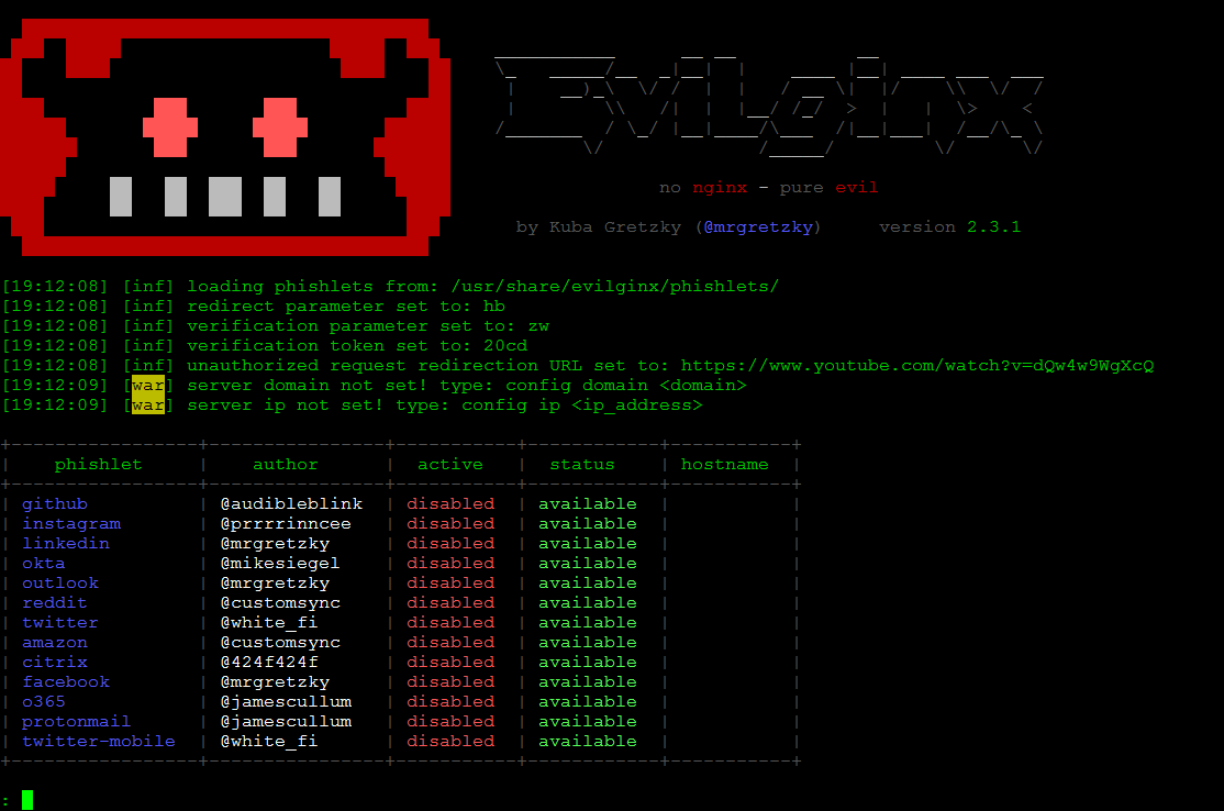 Evilginx interface