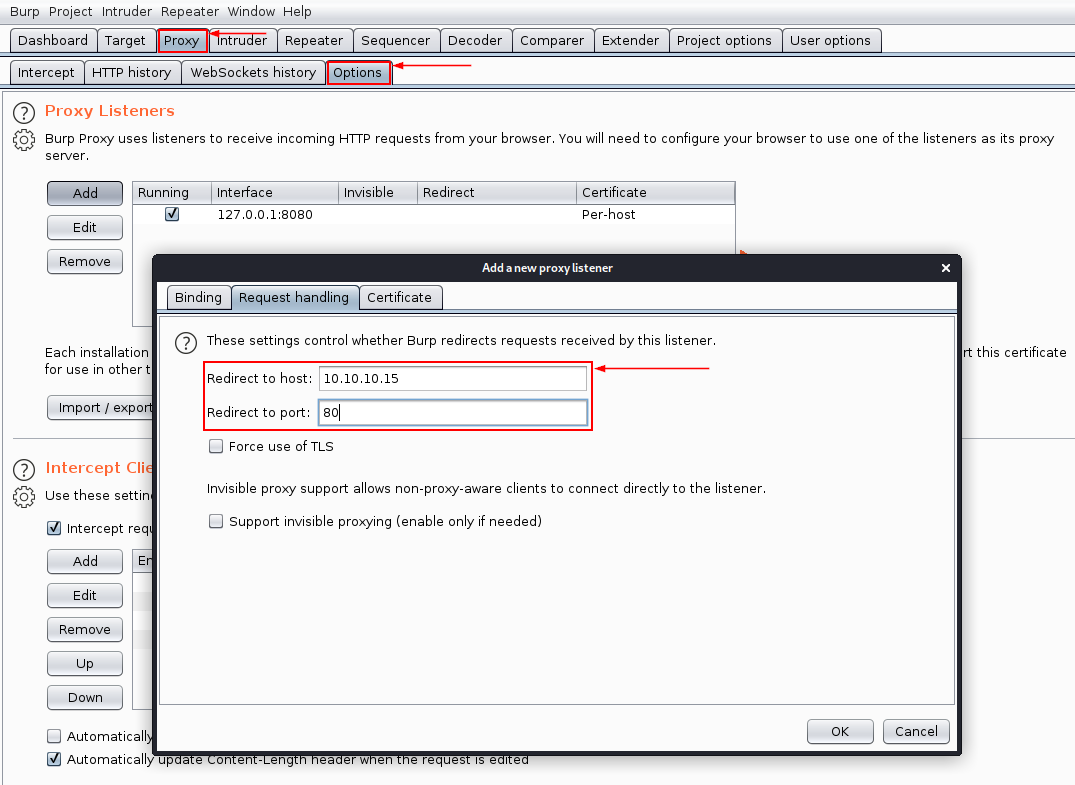 Adding a new listener in Burp Suite