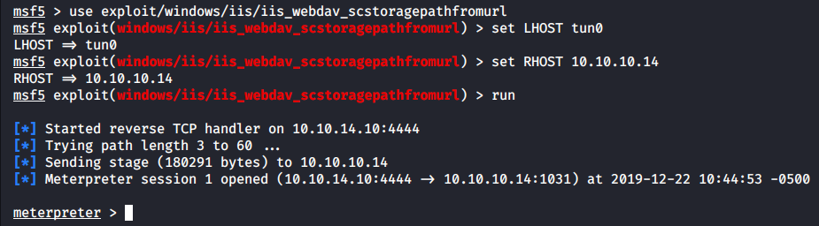 Exploiting the buffer overflow vulnerability in ScStoragePathFromUrl with Metasploit