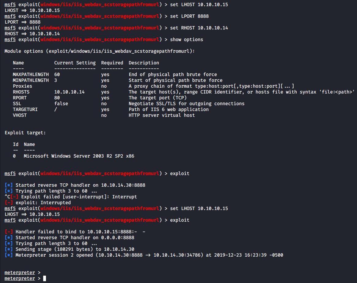 Hacking VM Grandpa via VM Granny using iis_webdav_scstoragepathfromurl