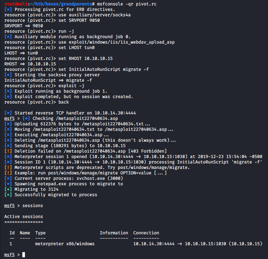 Opening a Meterpreter session on the foothold (hacking VM Granny)