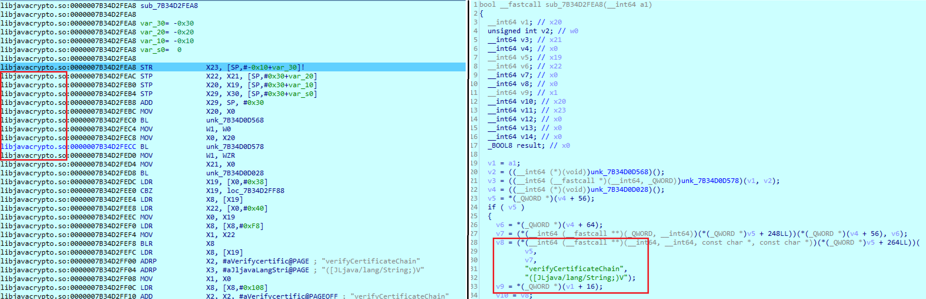 Callback function in Android that takes the control during the verification of the server's certificate