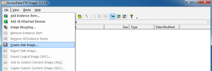 Selecting the Create Disk Image option in the GUI version of FTK Imager