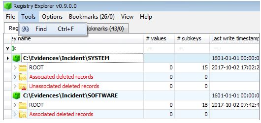 Loading the main registry hive in Registry Explorer