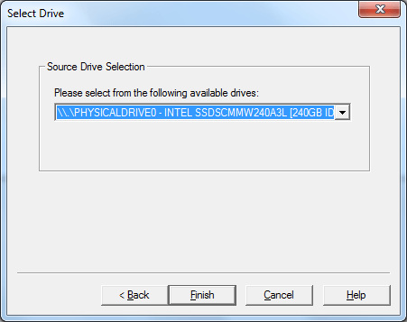 Selecting the system disk as the source drive