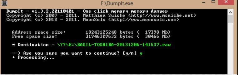DumpIt creates a RAM image