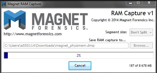 Belkasoft RAM Capturer creates a RAM image
