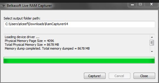 RAM dumping window in Belkasoft RAM Capturer