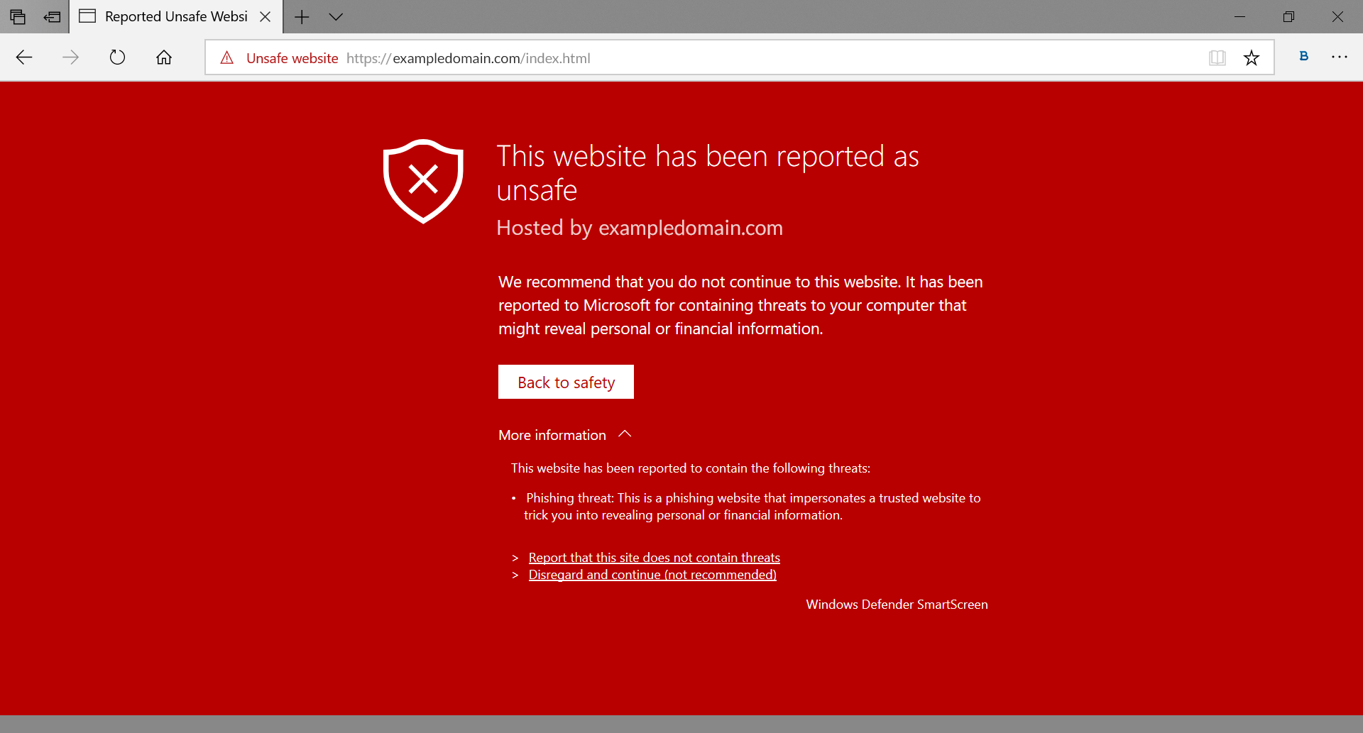 MS Edge blocks a potentially phishing site (source: ManageEngine.com)